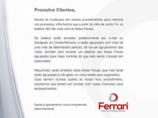 E-mail Marketing - Informativo Ferrari Rolamentos